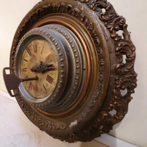 Horloge métal/bois diamètre 40cm)
